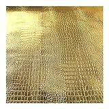 Stoff PVC Kunstleder Krokodil gold Glanz glänzend