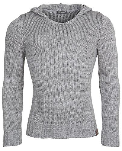 TAZZIO Herren Kapuzenpullover Strickpullover Grobstrick Warmer Hoodie Winter Sweatshirt Pulli Größe S - XL Grau Brooklyn