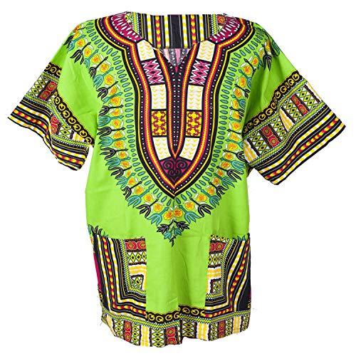 Lofbaz Unisex Dashiki Bohemian Africana Camicia Hippy Verde chiaro Taglia M