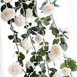 Amknn Rose Artificielle en Soie Faux de Lierre à Suspendre Faux Feuilles de Plantes Guirlande de Mariage Décoration Murale de Jardin, White Rose, 180 cm/ 70.87 inch
