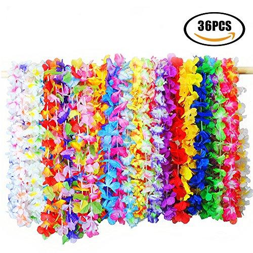 tten Halskette, 36 Stück Hawaiianische Kränze Tropische Blumen, Hawaii Party Kostüm Halskette Girlande Tropischen Hawaiianischen Luau Blumen Lei für Kleid, Party Favors, Strand und Themenbezogenen Geburtstage (Gelbe Party Hüte)
