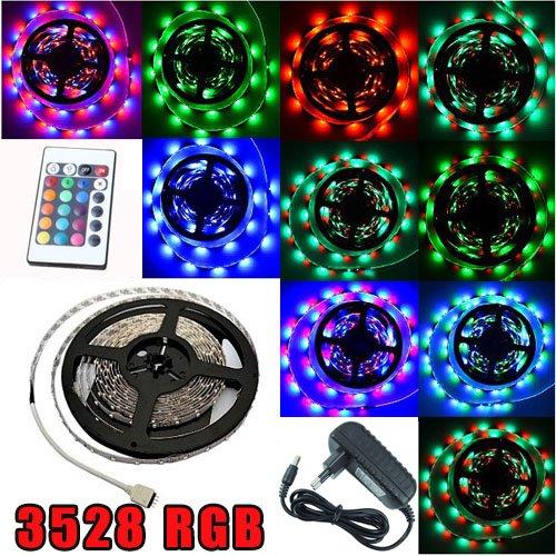 Kit complet Ruban LED RGB RVB Professionnel Flexible - 5 Mètres - 60 LED/M - MULTICOLORE - 3528