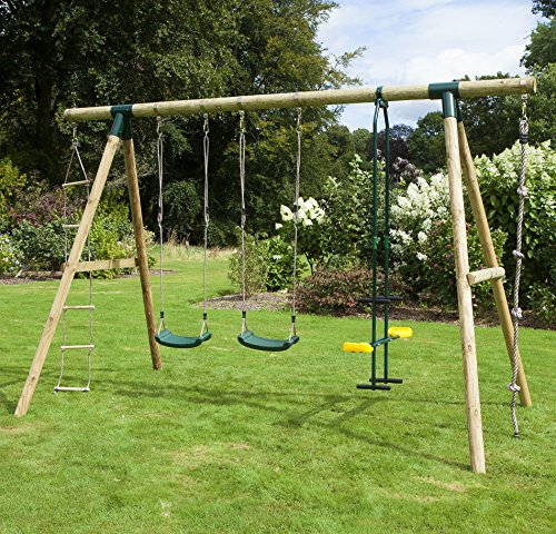 Rebo Wooden Garden Swing Sets - Saturn