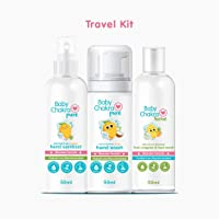 BabyChakra Travel Kit : Pack of 3-50 ML Each (Foaming Hand wash + Alcohol free Hand Sanitizer + Fruit, Veggies and Toys Wash)