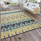 Paco Home In- & Outdoor Terrassen Teppich Modern Boho Muster In Gelb Türkis Schwarz, Grösse:80x150 cm