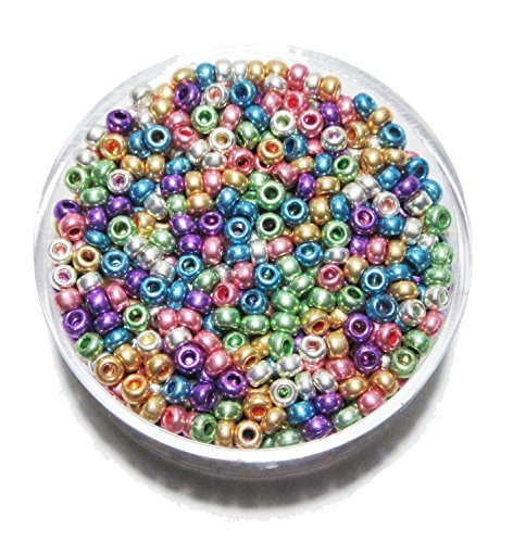 Basteln - Perlen Mix - Rocailles mix - metallic - ca.Ø 2,6mm - ca. 17gr - (1x1Set) (Halskette Metallic-perle)