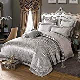 ShineMoon Home Hotel Satin Luxus Jacquard Bettbezug/Steppdecke Bezug und Bettlaken Set Double King Size Blumen Schlafzimmer Betten-Set, Color #1, King Size(4PCS/Set)