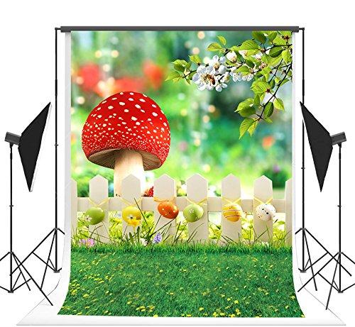 hling Hintergrund für Fotografen Gras bunte Eier Ostern Hintergrund Wunderland nahtlose Kulissen roten Pilz Fotoautomat Stütze 5x7ft (150x220cm) (Wunderland-kulisse)