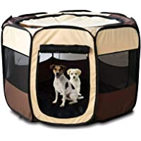 24x7 eMall Pet Playpen Tent Kennel and Carrying Case Collapsible and Outdoor Use with Water Resistant Shade Cover for…