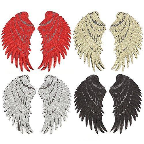 4 pares alas ángel lentejuelas rojas doradas, plateadas