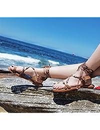 Angrousobiu Roman Sandalias Planas Mujer Retro de Vacaciones de Verano Calzado de Playa Las Tiras transversales...