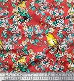 Soimoi Orange Viskose Chiffon Stoff Vogel, Blätter und