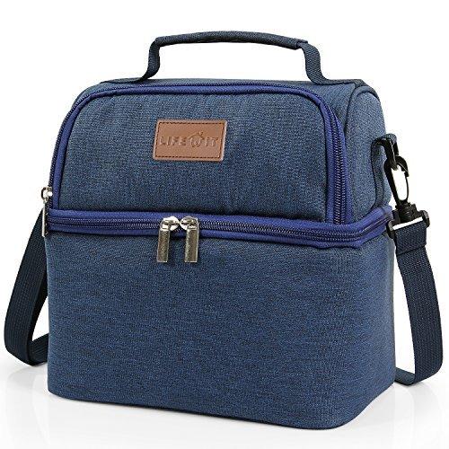 Lifewit borsa termica borsa pranzo con ghiaccino manutenzione di freddo e caldo porta pranzo cibo alimentazione con grande capacità e maniglia durevole lunch box per campeggio lavoro scuola7l (blu)