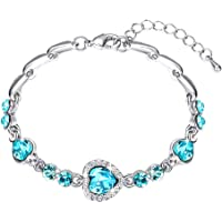 Yellow Chimes Copper Silver Plated and Crystal Bella Beauty Love Heart Charm Bracelet for Women