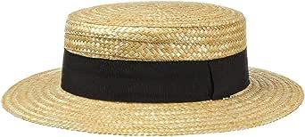 Lipodo Boater paglietta Donna/Uomo - Made in Italy - Cappello da Sole in Paglia di frumento - Cappello da gondoliere - Copricapo con Fascia in Gros-Grain Primavera/Estate
