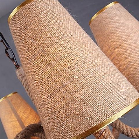 Luz Simple ZSQ Sombra cuerda retro de luz colgantes candelabro L 5-Faro ropa cubierta #86