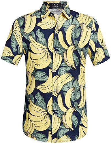 SSLR Herren Banana Hawaii Style Kurzarm Casual Button Down Hemd Navy