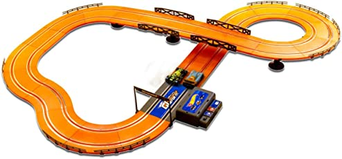 Hot Wheels 1:43 Scale Model ABS Racer Track Set with 2 Slot Cars, 380cm Parameter with Adaptor (Multicolour)