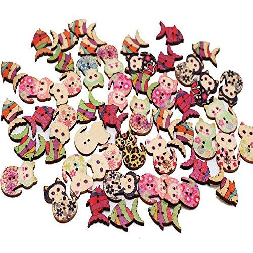 Runde Knöpfe Holzknöpfe Katze Wooden Buttons Fisch Druckknöpfe Holzknopf Knopf Kinderknöpfe Mit 2 Löcher Für Nähen Handwerk Scrapbooking DIY Wooden Buttons 100 Stück( 50pcs & 50pcs )