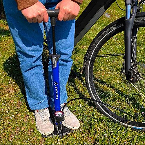 BYKLISTA Bomba de pie para Bicicleta Profesional - Bomba de Suelo de Alta presión manómetro hasta 12 Bar par