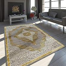 Paco Home Alf. Oriental Moderna Efecto 3D Ornamentos Jaspeada Gris Dorado Crema Reluciente, tamaño