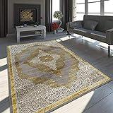 Paco Home Orient Teppich Modern 3D Effekt Ornamente Meliert Grau Gold Creme Schimmernd, Grösse:160x230 cm