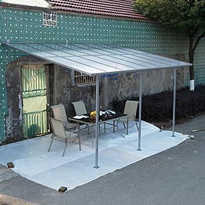Outsunny® Terrassendach Terrassenüberdachung Überdachung Sonnenschutz Veranda, Metall+Polycarbonat, 300x300cm / 300x450cm von Outsunny bei Gartenmöbel von Du und Dein Garten