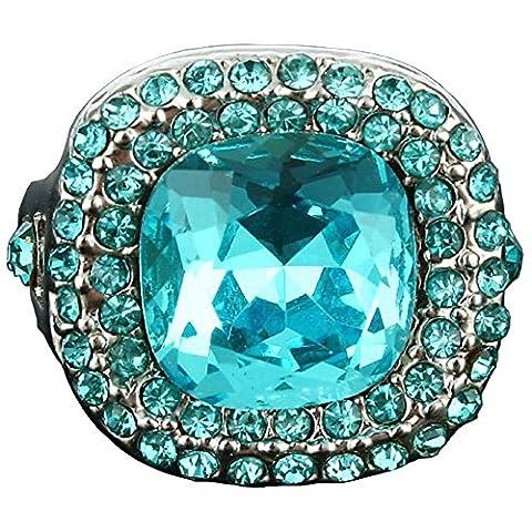 Elegante blaue Felsen-natürliche glänzende Kristallringe für Frauen Schmuck sache großer Aussagen Ring Platin überzogene schmuck (54 (17.2))