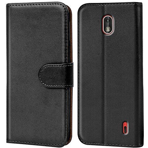 Verco Nokia 1 Hülle, Handyhülle für Nokia 1 Tasche PU Leder Flip Case Brieftasche - Schwarz