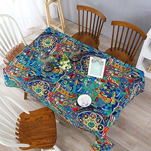 Nclon stile etnico tovaglia,cotone lino tavolino retro tovaglia ristorante bar drappo tovaglie-a 140 * 300cm