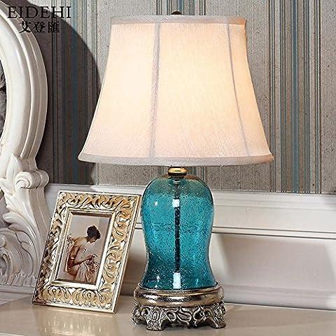 lampada da comodino Mediterraneo/lampada da letto/Lampada da tavolo in vetro blu-interruttore dimmer