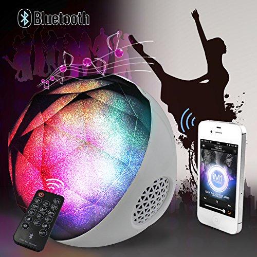 Diamond LED de color cambiante luz de la bola inalámbrico de alta fidelidad estéreo Bluetooth altavoz reproductor de música con radio FM TF y remoto control (White)
