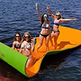Moracle Colchoneta de Agua Flotante 18x6FT Almohadilla de Espuma 360/590kg Flotante Relajación en la Piscina / Playa Flotante de Agua con Almohada de Bricolaje para Adultos y Niños (naranja y verde, 18x6FT)