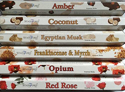 Stamford premium Hex Bâtons d'encens–Ambre, de noix de coco, égyptien, musc, encens et myrrhe, Opium &. Rose Rouge 20bâtons par Parfum (120bâtonnets)