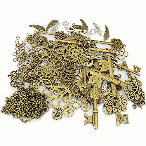 LolliBeads (TM) Antik Metall Skelett Steampunk Armbanduhr Zubehör Zahnrad Sets, Zinn, BronzeSilver-Charm-Kits-300pcs, Kits300pcs