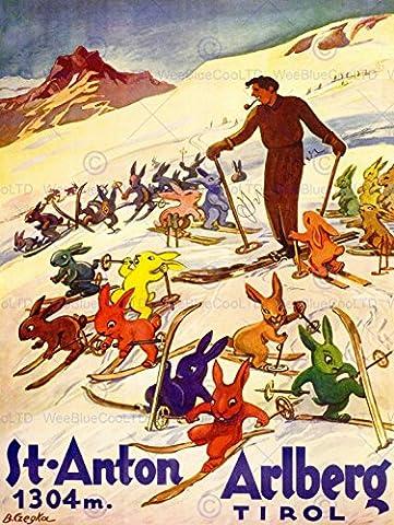 TRAVEL WINTER SPORT TYROL SKI SNOW RABBIT BUNNY ALPS ART PRINT POSTERBB7717B
