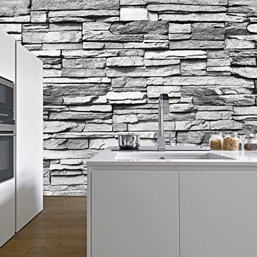 Fototapete Stein 3D 274,5 x 254 cm Steinwand Schwarz Weiß Weiss Mauer Ziegel Tapete inklusiv Kleister livingdecoration (Ziegel-stein-tapete)