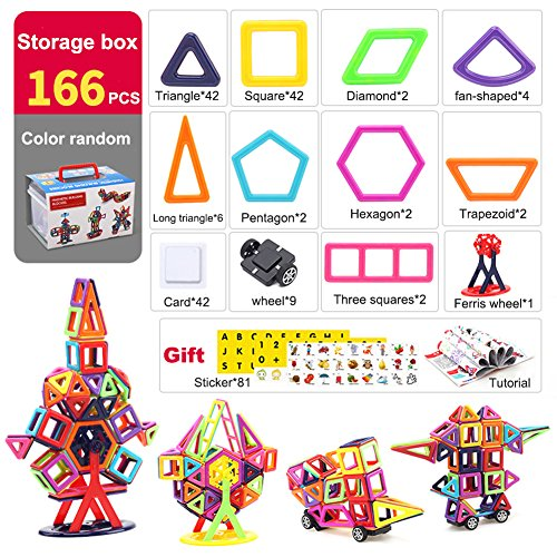 Magnetic Blocks Colorful Building Toys Magnetic Toys with Box (166 Pieces)