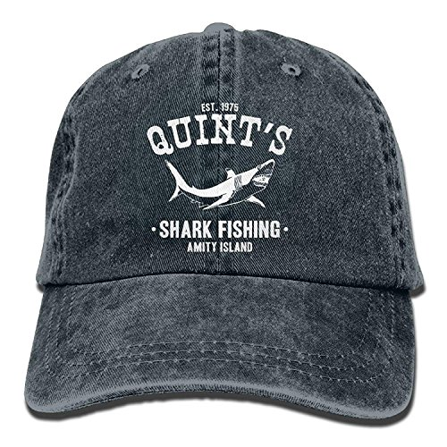 Quints Shark Fishing Jaws One Size Denim Baseball Cap Adjustable Dad Hat Unisex Sports Trucker Cap Peaked Cap for Men Women Adults