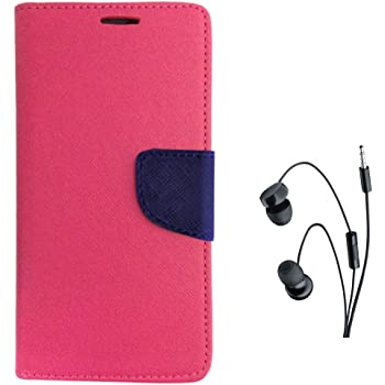 Avzax Diary Look Flip Case Cover with Magnetic Closure For Lyf Wind 1 (Pink) + In Ear Headphone
