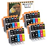 D&C 20 Druckerpatronen komp. für Canon Pixma PGI-525 CLI-526 iP4800 iP4850 iP4900 iP4950 iX6550 MG5100 MG5140 MG5150 MG5200 MG5250 MG5350 MG6150 MG6250 MG8150 MG8250 MX715 MX880 MX885 MX895