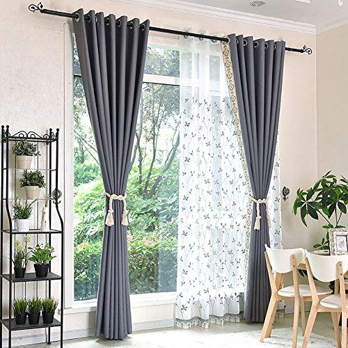 DULPLAY Satz 1 paneele Blackout vorhänge, Fenster Vorhang, Gardine aus Voile Tülle-Platten Natürliches gefühl Blackout-tülle Für Schlafzimmer & Wohnzimmer-Grau W150xL270cm(W59xL106inch)