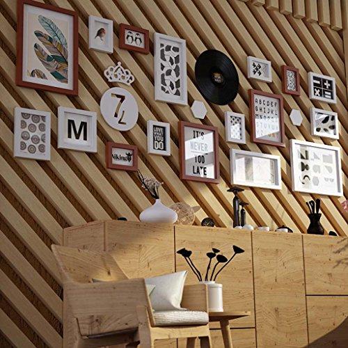 17 cadres multi de photo ont fixé le cadre en bois de mur de photo de mur contemporain de pin pour le ménage/avec des images @The harvest season (Couleur : B)