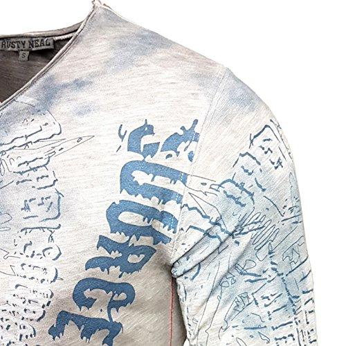 Rusty Neal Longshirt Printed Motiv Druck Washed Verwaschen Longsleeve 10135 Anthrazit