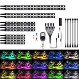Justech 12PCS Kit de Ruban Lumineuse Multicolore 126LEDs RGB Flexible Éclairage Décoration Néon avec 8pcs 90cm Câble d'Extension sans Fil à Distance pour Moto Quad Caravane