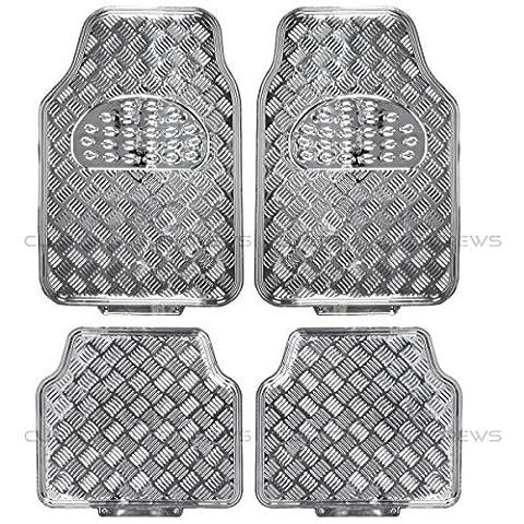 BDK Universal Fit 4-Piece Metallic Design Car Floor Mat - (Silver) by BDK