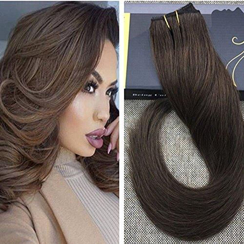 Ugeat #4 Clip in Dunkelbraun Brasilianisch Glatt Tressen Echthaar Extensions 22 Zoll 50g One Piece Clip?in Remy Human Hair Extensions (African Extensions Hair In Clip)