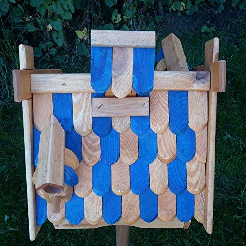 Vogelhaus Massivholz Schreinerarbeit Futterhaus Vogelhäuschen –Wetterschutz– K21aNB - 3