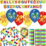HHO Alles Gute Zum Schulanfang Partykette + Luftballons + Konfetti + Luftschlangen