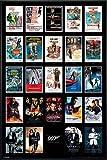 James Bond 007 Poster Filmplakate Collage (93x62 cm) gerahmt in: Rahmen schwarz